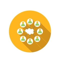 Cloud surrounded people flat icon vector image