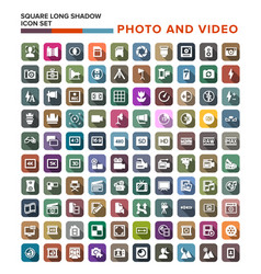 Collection of photo video icons with long shadow vector