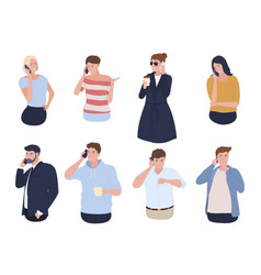 collection people talking on smartphone vector image