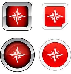 Compass button set vector