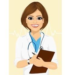 confident female doctor taking patient notes vector image