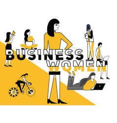 creative word concept business woman and people vector image