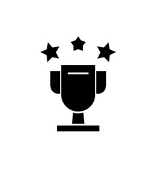 cup awards black icon sign on isolated vector image