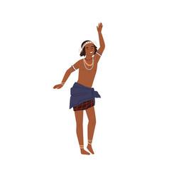 Cute african boy dancing tribal ritual dance vector
