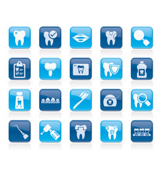 dental medicine and dentistry tools icons vector image