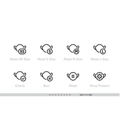 Different sizes masks icon set size xs vector