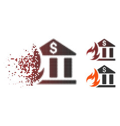 Dissolved pixel halftone bank fire disaster icon vector