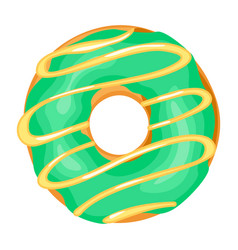 donut with green glaze sugar frosting pastry vector image