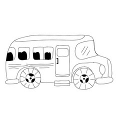 Dotted shape vehicle school bus education vector