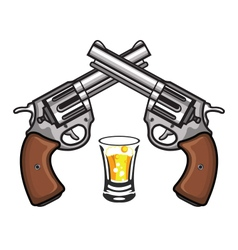 Double Pistol and Glass of Wine vector