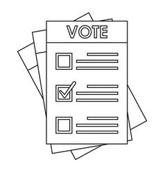Election paper icon outline style vector