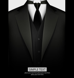 elegant black tuxedo with tie vector image