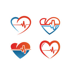 Elegant heart and ekg outline logo design template vector