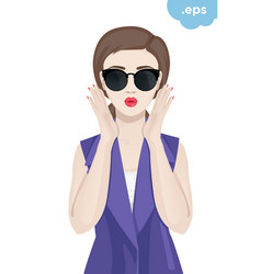 fashionable young woman wearing sunglasses vector image