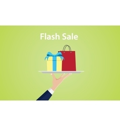 flash sale with hand give a plate vector image