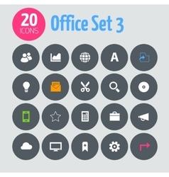 Flat minimalistic office 3 icons on dark gray vector