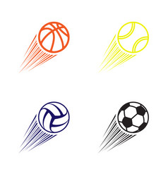 four flying balls vector image