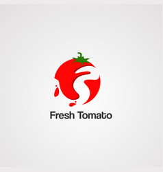 fresh tomato logo icon element and template vector image