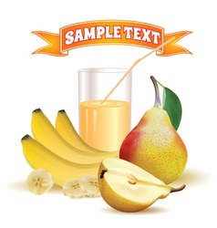 Glass with juice bananas and pear vector