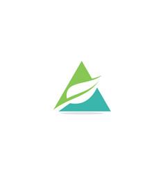 green leaf organic triangle logo vector image
