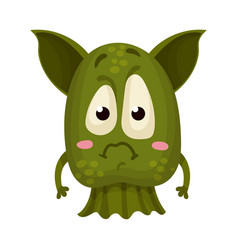 Green monster with big ears expressing sadness vector