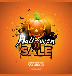 Halloween sale with pumpkin cemetery and bats vector