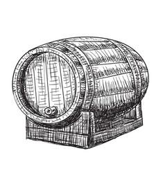 Hand drawn wooden oak barrel wine whisky beer vector