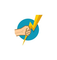 Hand holding lightning vector