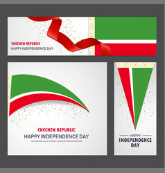 Happy chechen republic independence day banner vector