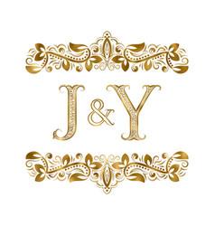 J and y vintage initials logo symbol letters vector