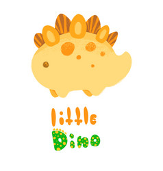 kawaii dinosaur and lettering little dino vector image