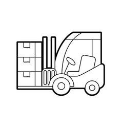logistic forklift cardboard boxes transport cargo vector image