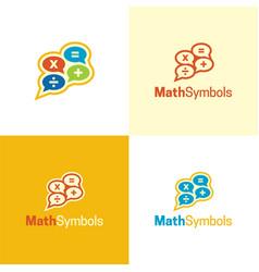 mathematics symbols logo and icon vector image