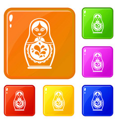 Matryoshka icons set color vector