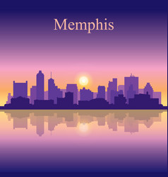 Memphis silhouette on sunset background vector