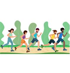 men and women dressed in sportswear run through vector image