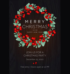 merry christmas and happy new year poster wreath vector image