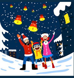 merry christmas card with family vector image