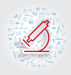 microscope icon on handdrawn healthcare doodles vector image