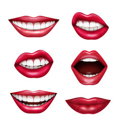 Mouth expressions realistic set vector