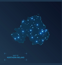 Northern ireland map with cities luminous dots vector
