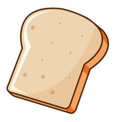 One piece bread toasted on white background vector