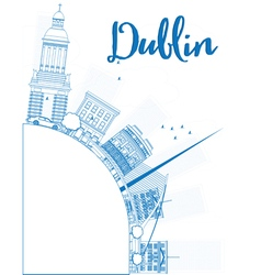 Outline Dublin Skyline with Blue Buildings vector