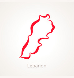 Outline map of lebanon marked with red line vector