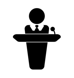 Person giving speech announcement behind podium vector