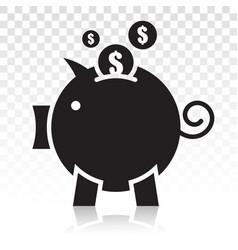 Piggy bank piggybank flat icon on a transparent vector