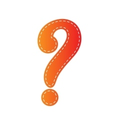 Question mark sign Orange applique isolated vector image