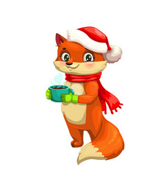 red fox with cup tea hat and scarf vector image
