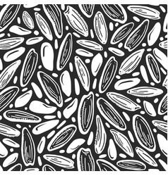 Rice sunflower seeds seamless bio pattern vector