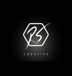 rs r s brushed letter logo design with creative vector image